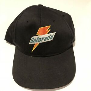 official photos 96431 17baa Image is loading Vintage-90s-Gatorade-Logo-Black-Adjustable-Snapback -Baseball-