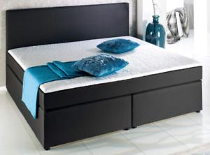 boxspringbett 140 x 200 cm schwarz doppelbett bett federkern inkl topper ebay. Black Bedroom Furniture Sets. Home Design Ideas