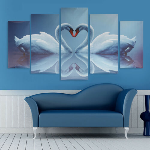 5Pcs Swan Canvas Print Modern Art Painting Wall Picture Home Decor Unframed