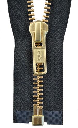 YKK Reißverschluss von 50-100 cm 5 mm metall gold farbend schwarz 1 Weg teilbar