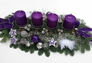 adventskranz adventsgesteck frisch lila silber gro e. Black Bedroom Furniture Sets. Home Design Ideas
