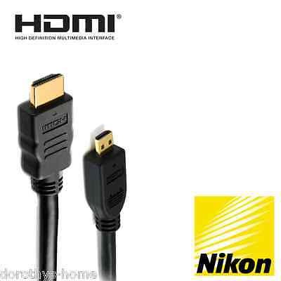 Capace Nikon Coolpix S9600, P600, S9700, S5300 Fotocamera Hdmi Micro Monitor Tv Cavo 5m-mostra Il Titolo Originale