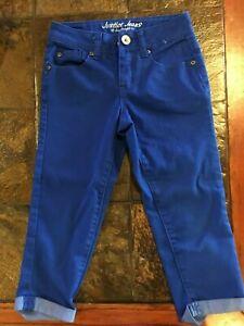 Justice Capri Jeans Girls Blue  Splash Size 8 Regular Pants Used