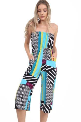 New Women Ladies Boobtube Printed Bardot Off Shoulder Jumpsuit Playsuit 8-26