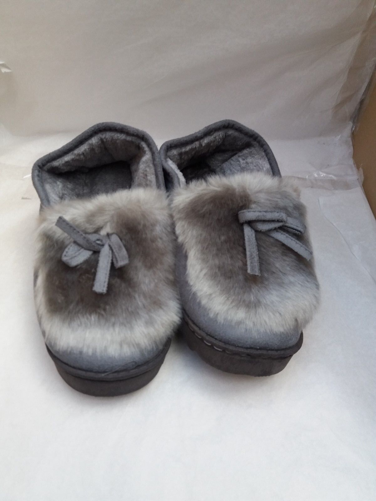 Ladies Suede Slippers with Faux Fur Lining Grey  - EU 36/UK 3