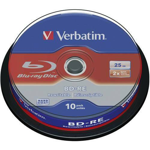 Blu ray bd re vergine 25 gb verbatim 43694 10 pz torre