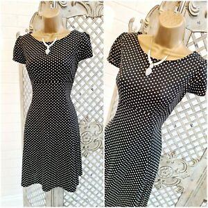 OASIS  UK L Black / Cream Polka-dot Print Retro Fit & Flare Tea Dress