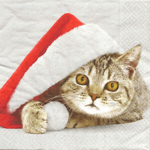 4 single paper napkins for decoupage santa cat christmas ebay