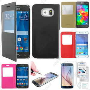 Housse-Coque-Etui-L-View-Pu-Cuir-Film-Verre-Trempe-Anti-Casse-pour-Serie-Samsung