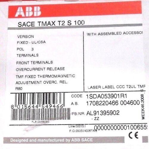 ABB T2S080TW CIRCUIT BREAKER 480V 80 A 3P NIB t2 s 100