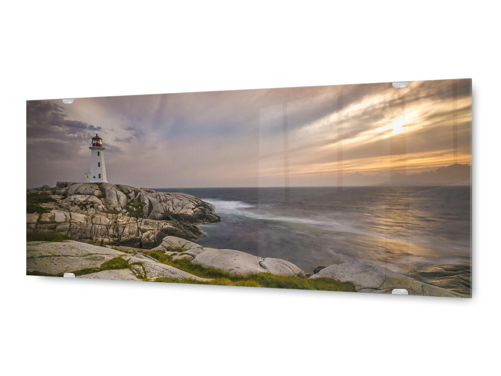 Glasbild Wandbild GLX12557199617 Leuchtturm  Küste 125 x 50cm