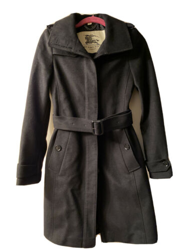 Burberry London Wool Cashmere Belted Coat Black Si