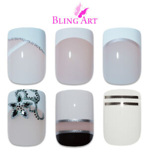 Bling-Art-False-Nails-White-Fake-French-Manicure-Glitter-Medium-Tips-with-Glue