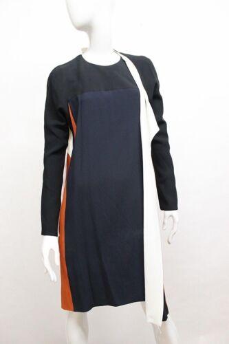 Vestito Blu Attillato Manica Blocchi Lunga Schiena In A Drappo Colore Balenciaga 04wvq