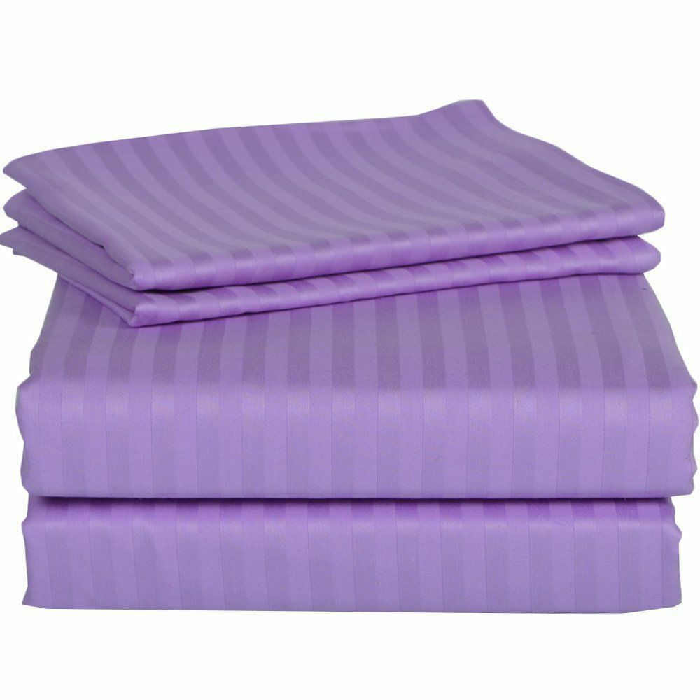 1000 Thread Count Egyptian Cotton Luxury Bedding All US Sizes purplec Stripe color