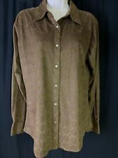Wrangler Womens Sz L Long Sleeve Pearl Snap Button Up Shirt Brown Faux Suede
