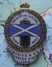 Vintage Gilded Scottish Caledonian Curling Club Badge : CANADIAN VISIT 1955