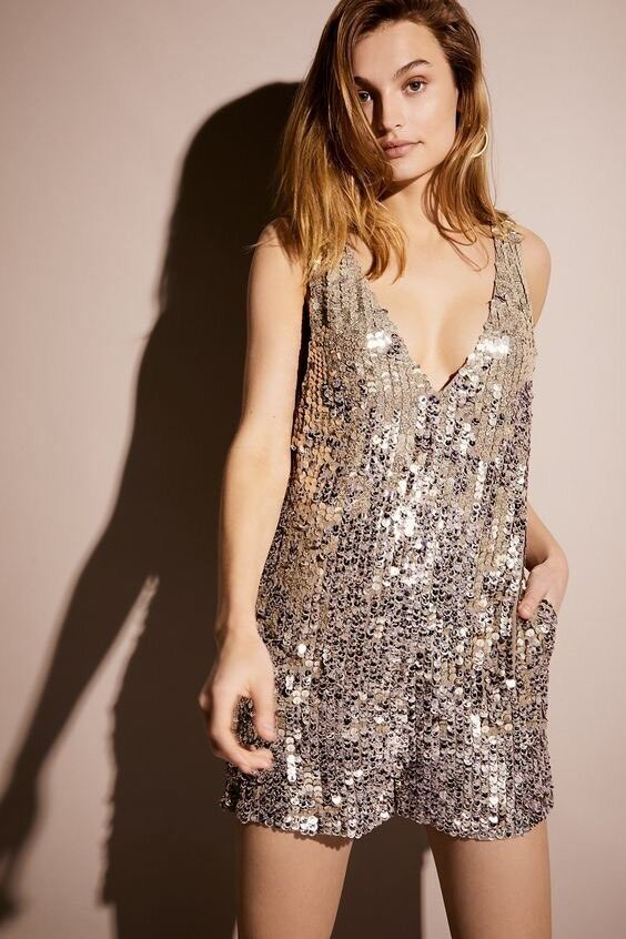 Free People Fool's gold Sequin Romper Size XS NEW MSRP   300