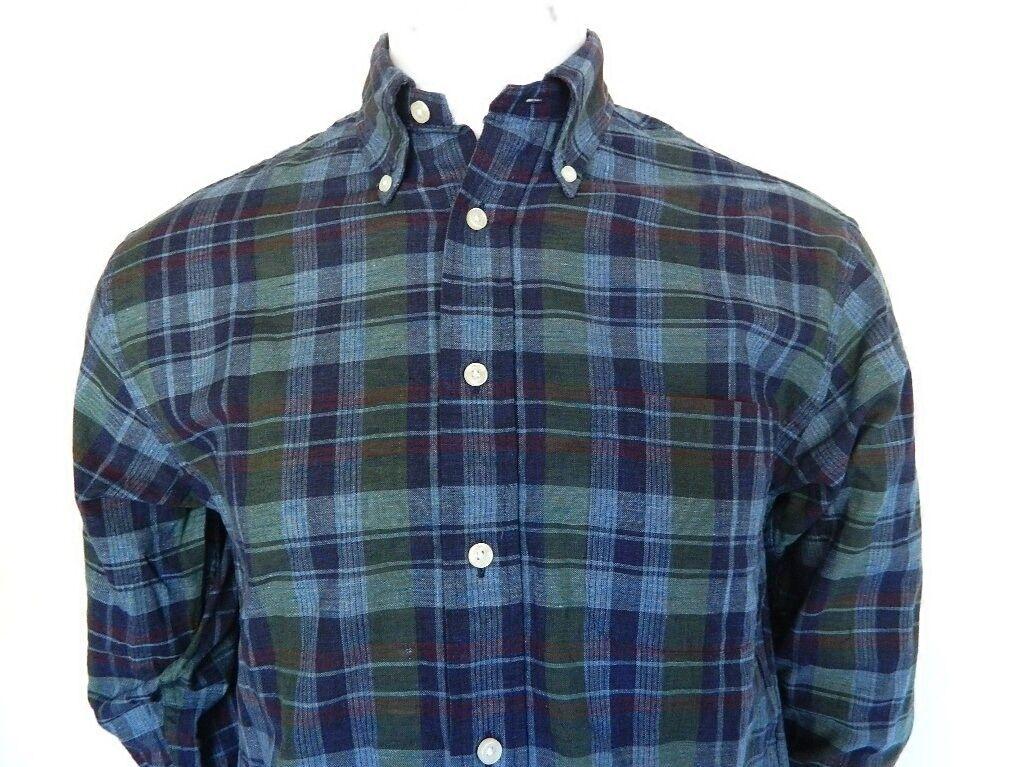 Mens Brooks Bredhers Multi color Plaid Madison Long Sleeve Cotton Button Shirt S