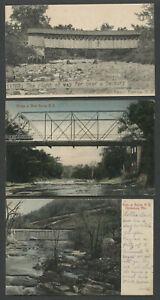 Berne-NY-Three-c-1910-Postcards-COVERED-amp-IRON-BRIDGE-DAM-Fox-Cobleskill-Creek