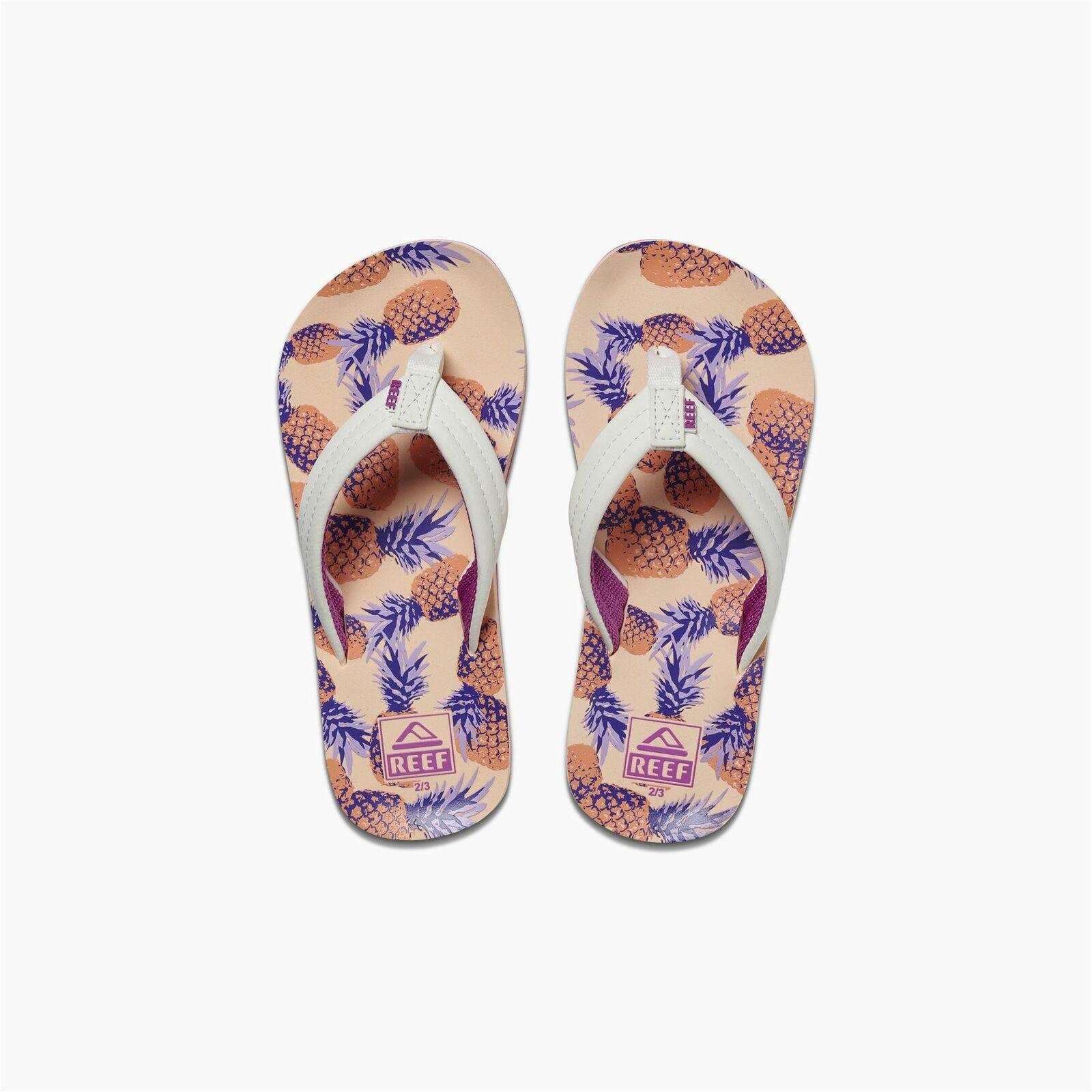 Reef Kids Sandals ~ Kids Ahi Coral Pineapples