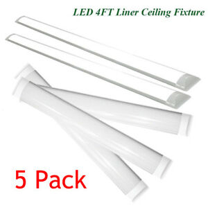 Details About 5pc 4 Foot Led Shop Lights For Garage 4 Led Light Ceiling Mount Office Fixtures