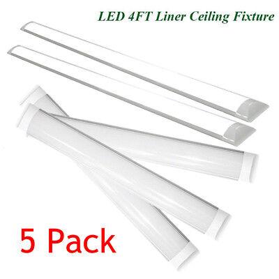 4 Foot Led Lights >> 5pc 4 Foot Led Shop Lights For Garage 4 Led Light Ceiling Mount Office Fixtures Ebay
