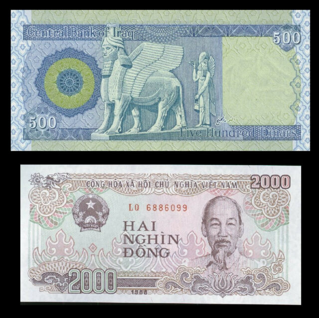 500 Iraqi Dinar Plus A Free 2000 Vietnamese Dong With Every Note Purchase