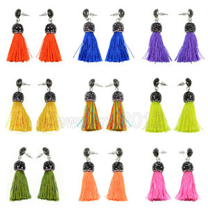 Women Colorful Cotton Rhinestones Tassel Bohemian Fringe Dangle Stud Earrings