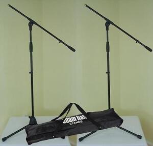 2-St-ADAM-HALL-Mikrofon-Staender-ECO-mit-Tasche-Mikrofonstativ-Schwenkarm-Galgen