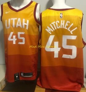 40c7a691bf97 DONOVAN MITCHELL Utah JAZZ Nike MEN S Orange CITY EDITION Swingman ...
