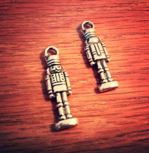 BULK Charms Nutcracker Pendants Antiqued Silver 2 Sided Christmas Findings 50pcs