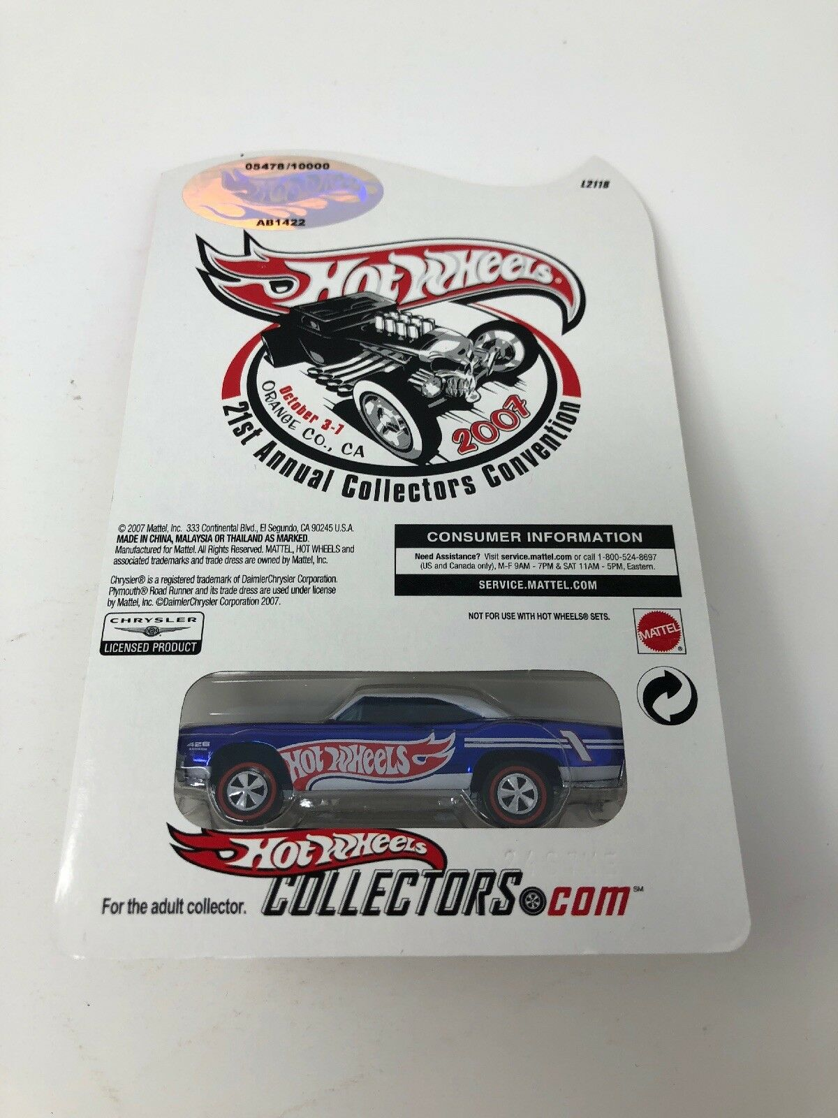 Hot Wheels Wheels Wheels RLC 21st Collectors Convention 70 Plymouth Road Runner 5479 10000 b7262d