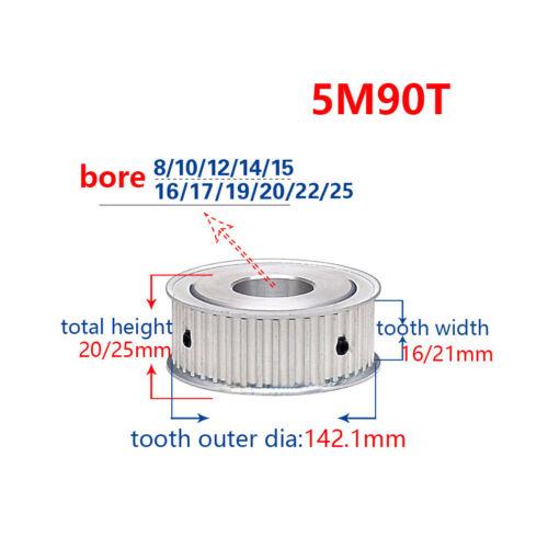 5M90T Timing Belt Pulley Gear Wheel Sprocket 10//12mm Bore For 15//20mm Width Belt