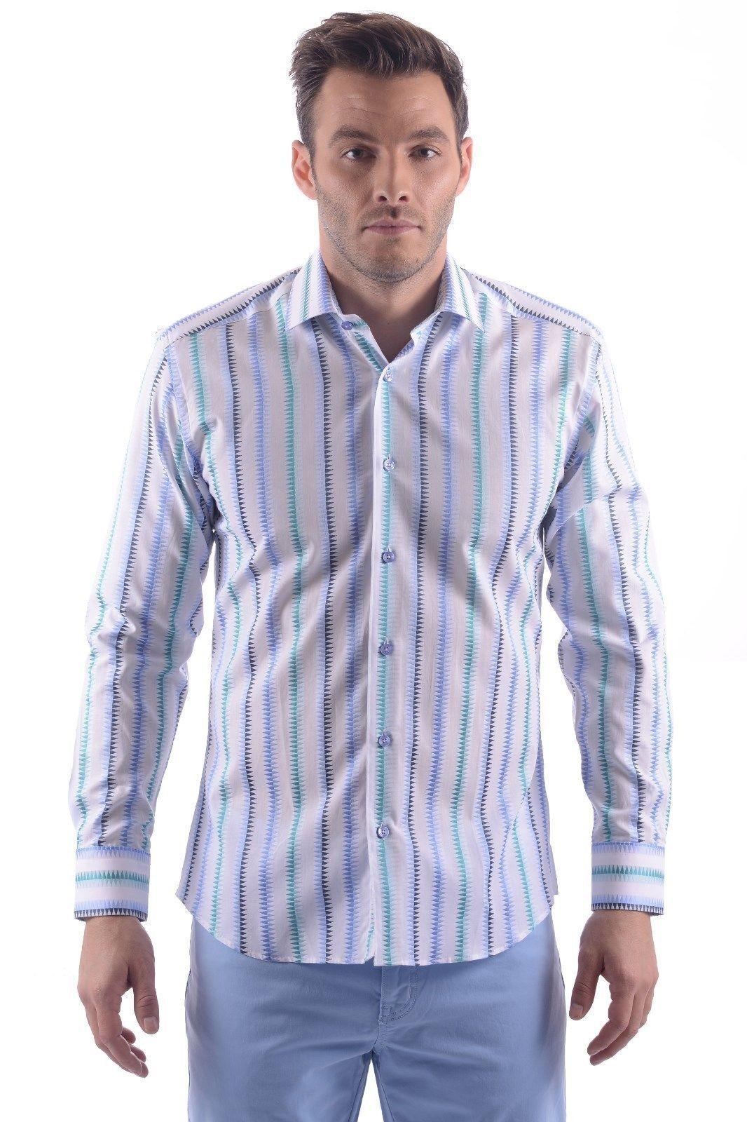 BERTIGO AJAX 55 Men Long Sleeve Dress Shirt SIZE LARGE