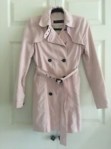 new arrive 100% authenticated available Details about ZARA Pink Double Breasted Trench Coat Jacket Belt Big Buttons  XS