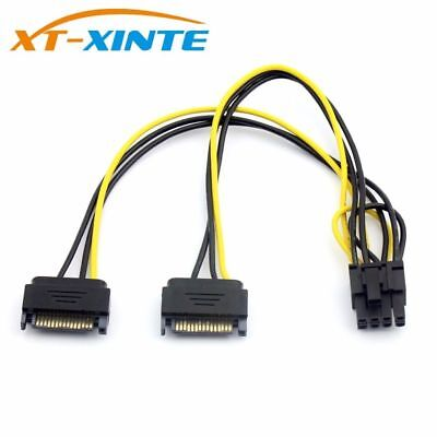 Dual 15Pin SATA to PCI-E 8Pin Cable PC Computer Graphics Card Power Cords Great