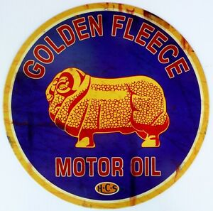 GOLDEN-FLEECE-MOTOR-OIL-H-C-S-Nostalgic-Auto-Memorabilia-Tin-Sign-ALL-WEATHER