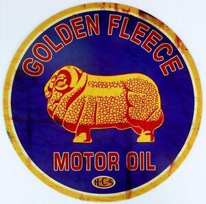 GOLDEN-FLEECE-MOTOR-OIL-H-C-S-Nostalgic-Auto-Memorabilia-Tin-Sign-ALL-WEATHER