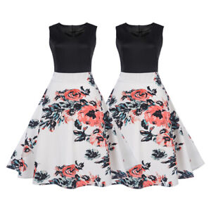 Women-Sleeveless-Floral-Retro-Vintage-50s-Rockabilly-Party-Prom-Cocktail-Dress