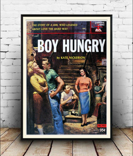 Wall art old pulp book cover Poster Reproduction. Boy Hungry