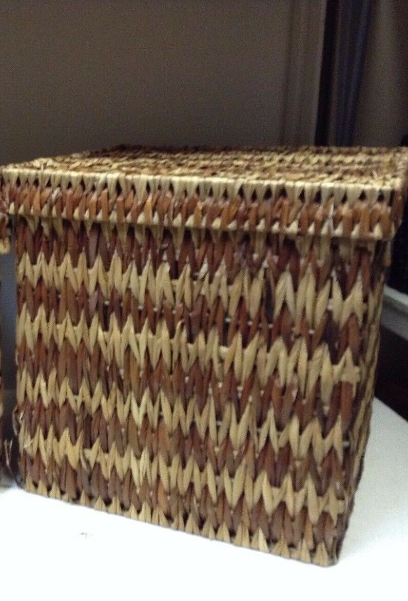 Jute Seagrass Toy Bathroom Storage Organizer Basket Lid Light Brown 15x15x15 LG