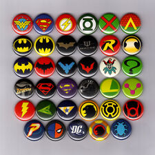 "DC COMICS LOGOS 1"" PINS BUTTONS batman joker superman wonder woman justice flash"