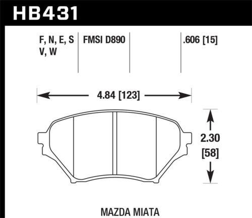 Hawk Performance Hb431n.606 Hp Plus Disc Brake Pad Fits 01-05 Miata