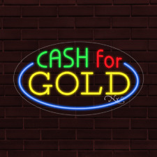 Brand New Cash For Gold Withborder Oval 30x17x1 Inch Led Flex Indoor Sign 34531