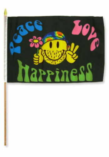 "12x18 12/""x18/"" Lot of 12 Peace Love Happiness Stick Flag wood staff Dozen"
