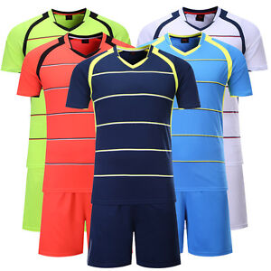 ff4717568 Image is loading Stripe-Blank-Running-Soccer-Jersey-Kit-Football-Uniforms-