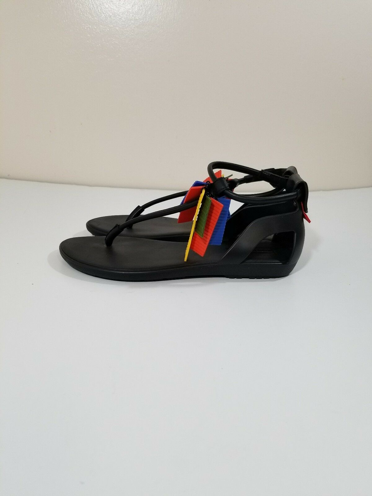 Hunter Black T Bar Thong color Pieces Sandals Size 7 NWOB Made in Italty