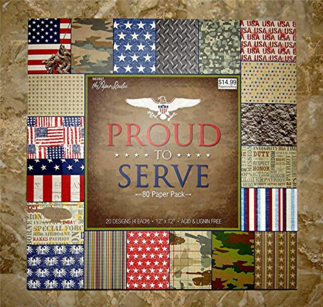 "MARINES ARMY AIR FORCE MILITARY PROUD TO SERVE SCRAPBOOK PAPER 12/""X12/"" NAVY"