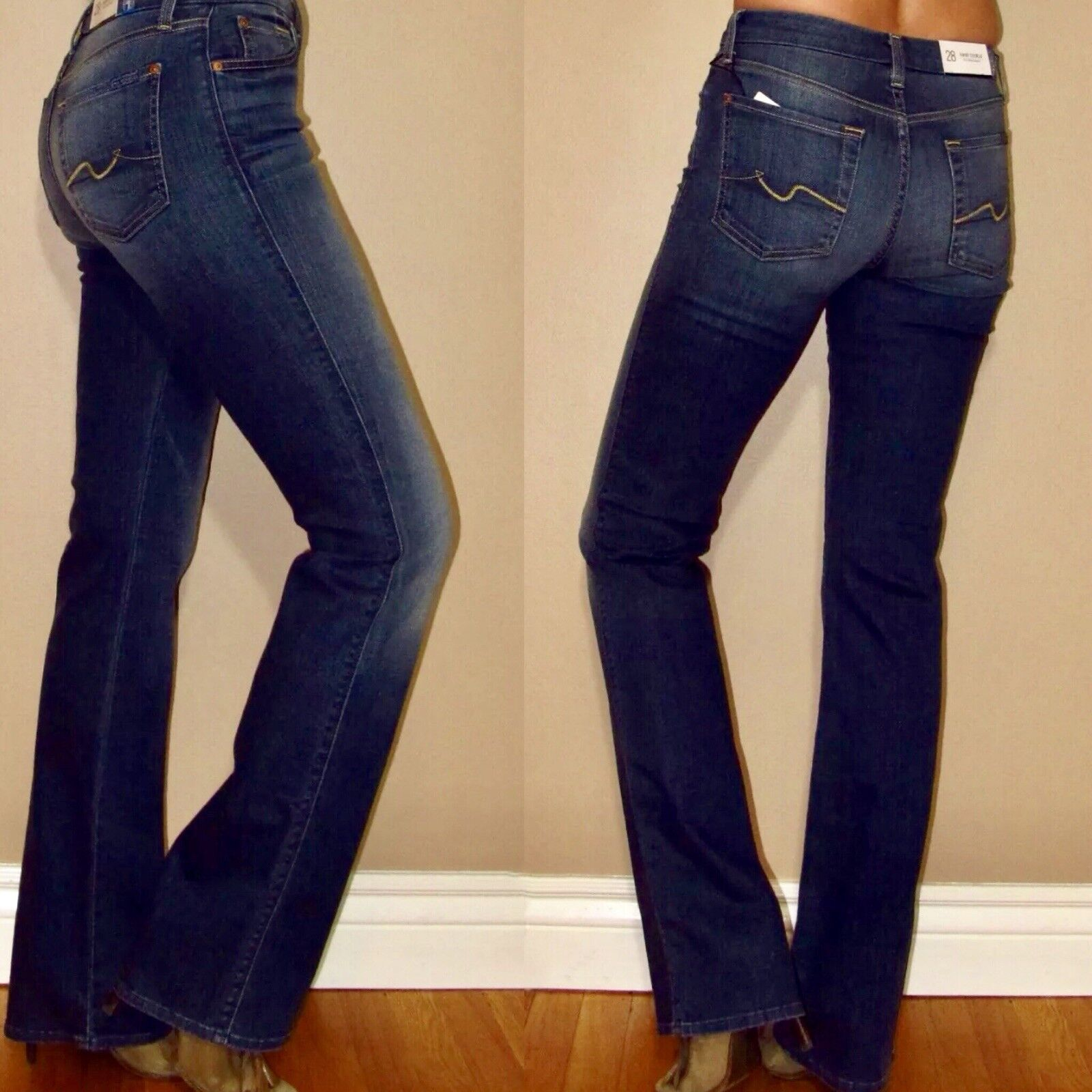 7 For All Mankind Karah Fitted Bootcut High Waist Jeans Medium Wash 24-27